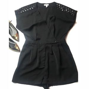 ANTHROPOLOGIE black studded wrap romper